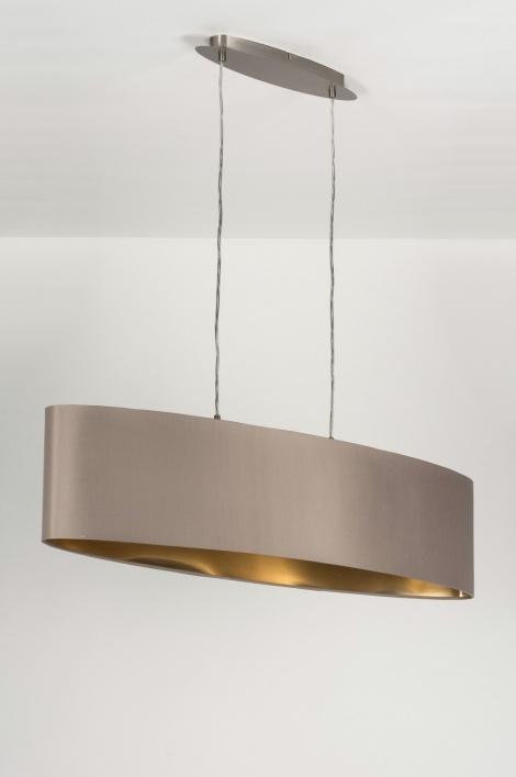 Hanglamp 10182 modern stof taupe ovaal - Grijze ruimte en taupe ...