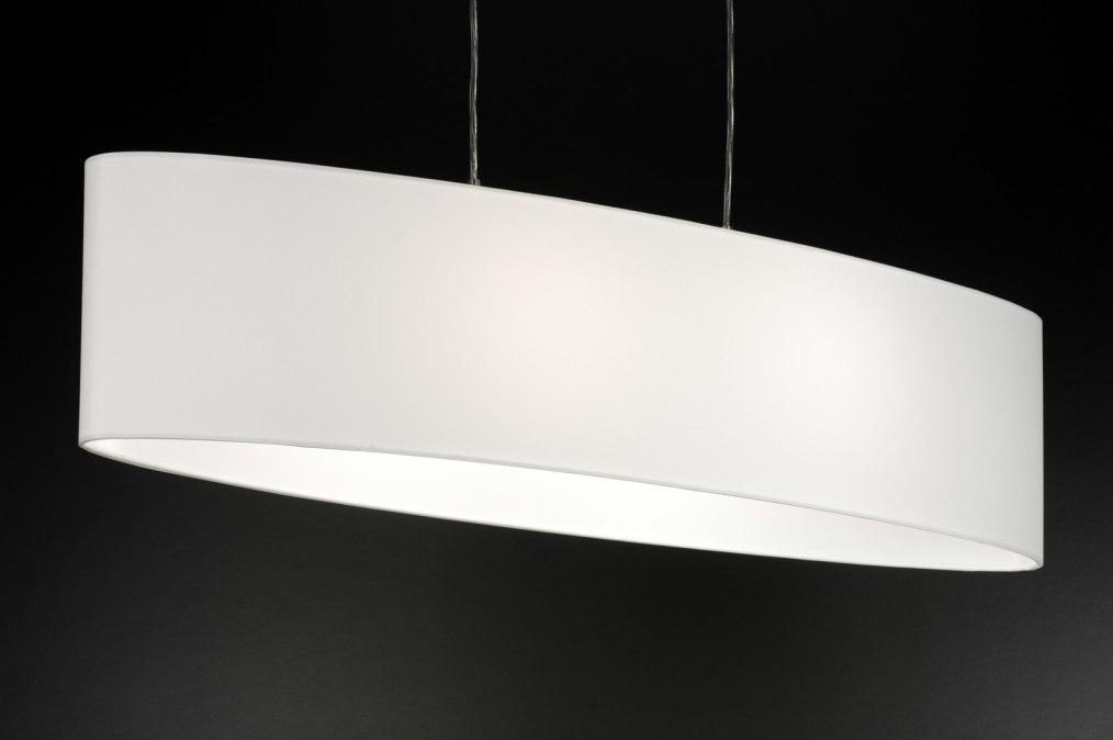 hanglamp 10188 modern wit stof ovaal. Black Bedroom Furniture Sets. Home Design Ideas