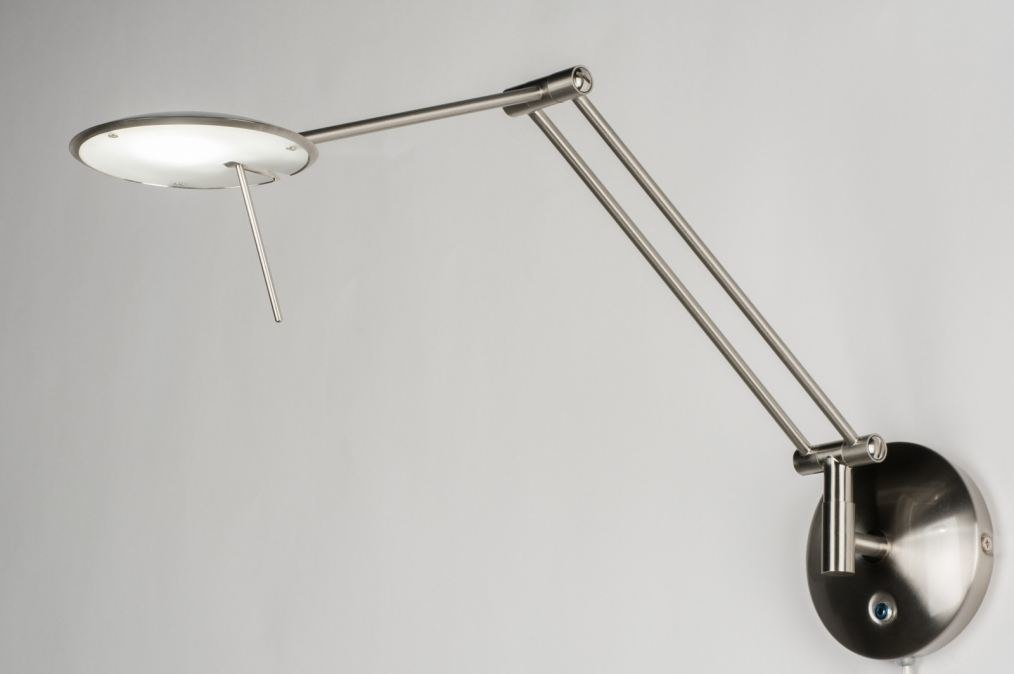 Douche Schuifdeur Rollers ~ Wandlamp 10784 modern, staalgrijs, staal rvs, rond