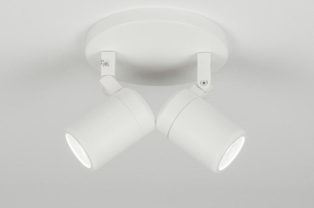 Plafondlamp 11306 modern wit mat rond - Badkamer kantelen ...