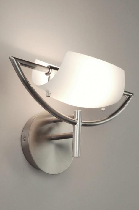 wandleuchte 28543 modern glas mit opalglas stahl rostbestaendig rund oval. Black Bedroom Furniture Sets. Home Design Ideas
