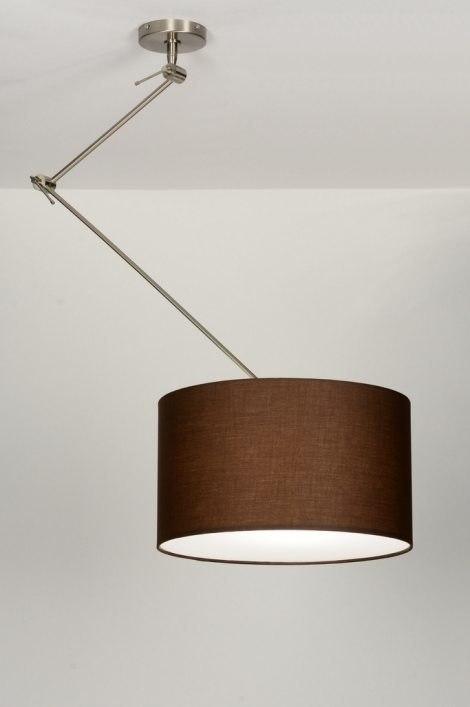 pendelleuchte 30006 modern braun stoff rund. Black Bedroom Furniture Sets. Home Design Ideas