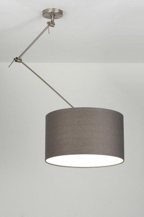 pendelleuchte 30007 modern grau stoff rund. Black Bedroom Furniture Sets. Home Design Ideas