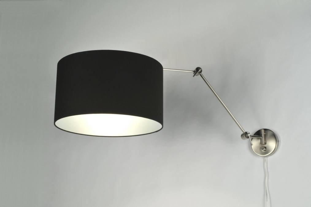 applique murale 30018 moderne acier poli etoffe noir. Black Bedroom Furniture Sets. Home Design Ideas