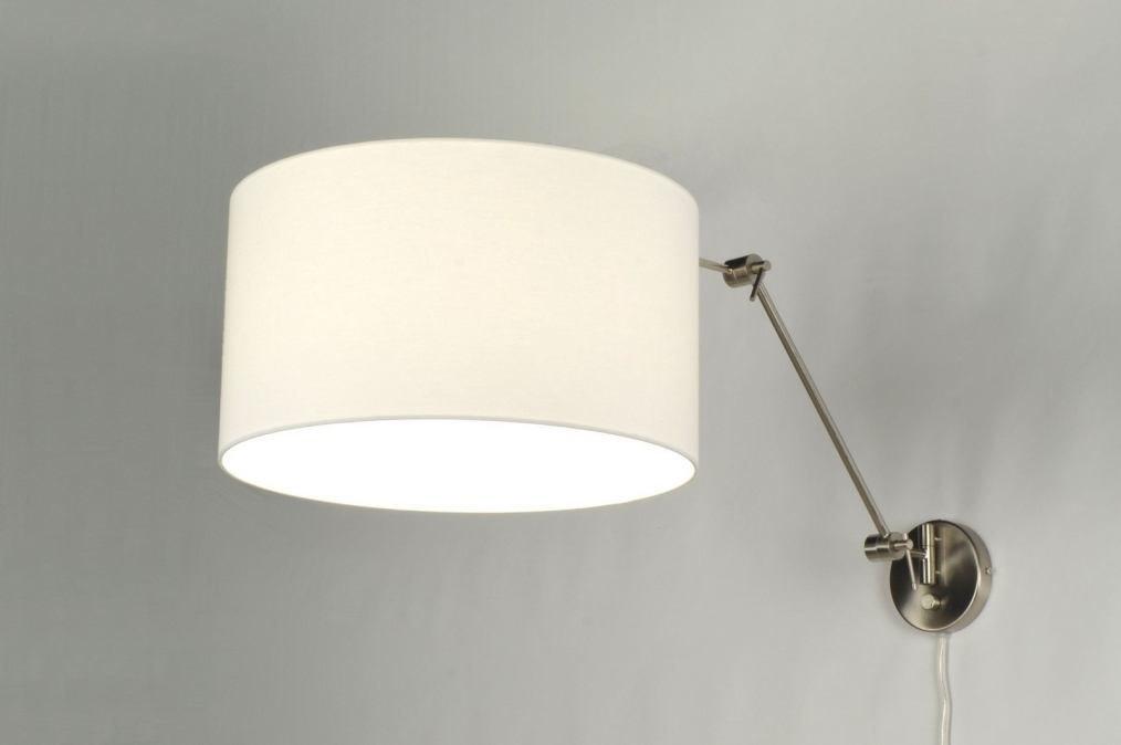 applique murale 30019 moderne acier poli etoffe blanc. Black Bedroom Furniture Sets. Home Design Ideas