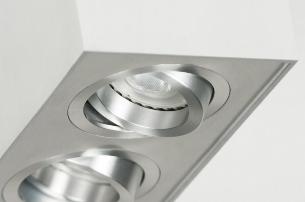 deckenleuchte 30048 modern design gebuerstetes aluminium rechteckig. Black Bedroom Furniture Sets. Home Design Ideas