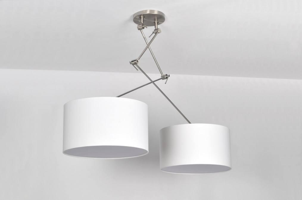 hanglamp 30098: modern, klassiek, design, staal , rvs, stof, wit, rond