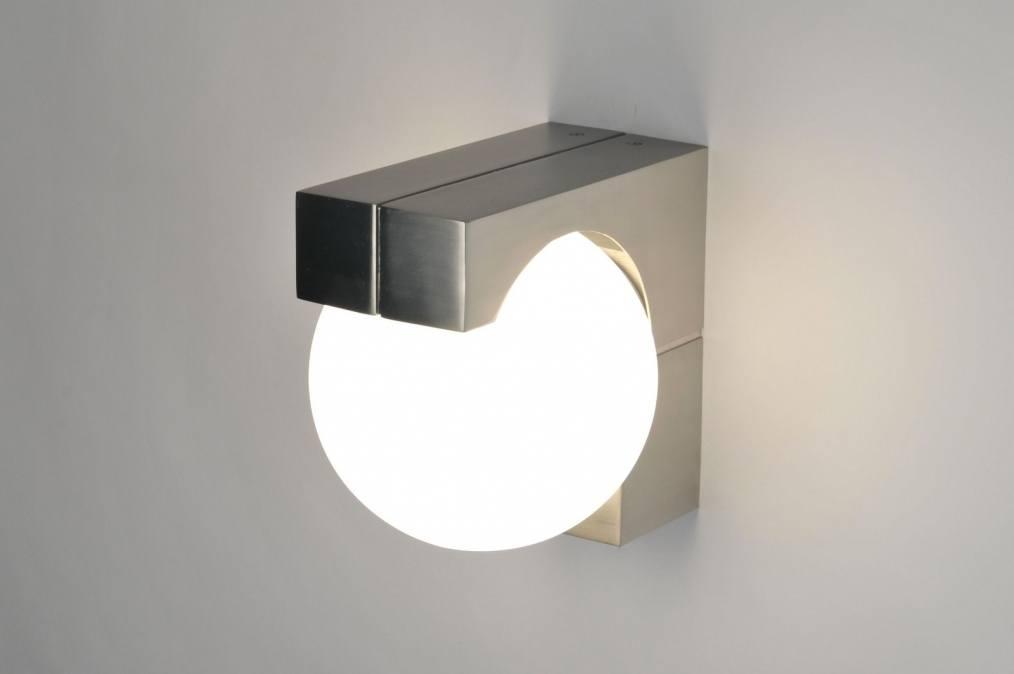 Plafondlamp 30124: Modern, Glas, Wit Opaalglas, Staal Rvs