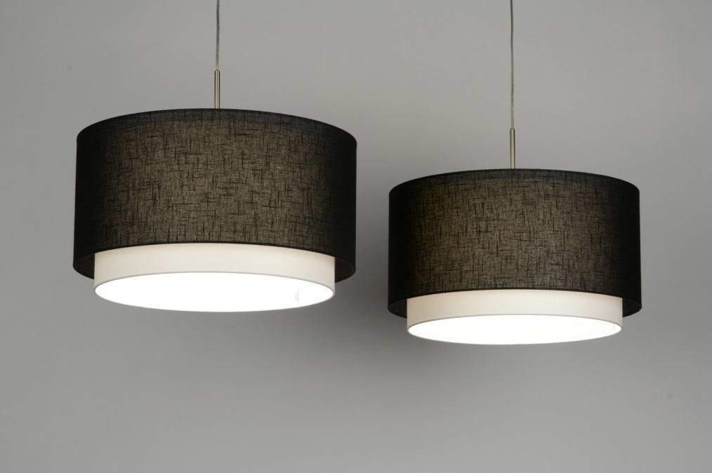 hanglamp 30134: modern, staal , rvs, stof
