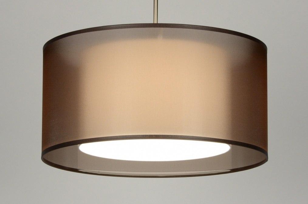 Hanglamp Voor Slaapkamer : hanglamp 30135: modern, bruin, stof, rond