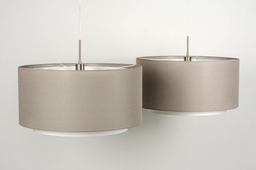 Hanglamp 30143 modern taupe stof rond - Grijze ruimte en taupe ...