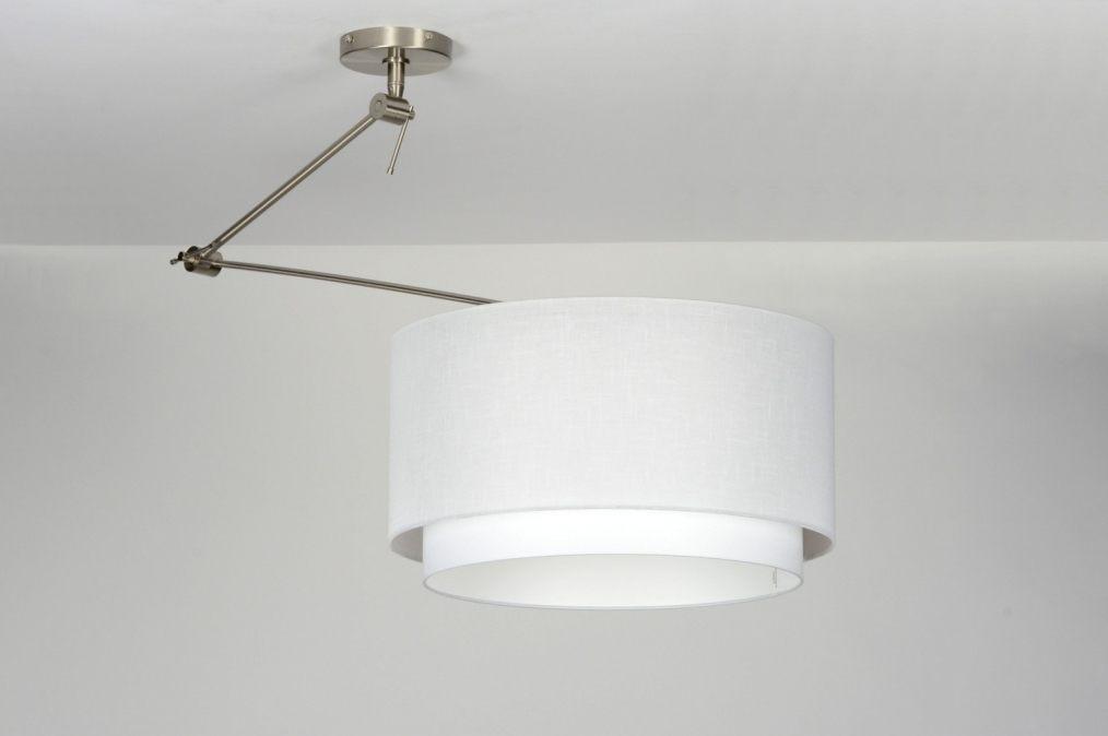 Hanglamp 30147: Modern, Staal , Rvs, Stof