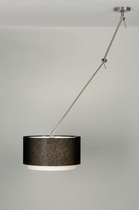 pendelleuchte 30148 modern schwarz stoff rund. Black Bedroom Furniture Sets. Home Design Ideas