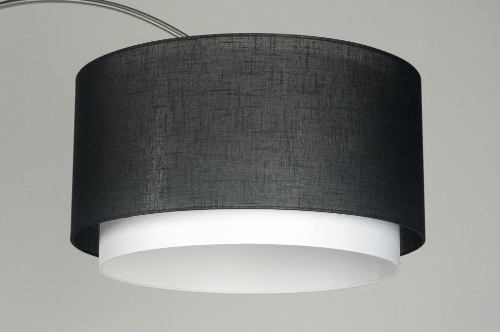 stehleuchte 30326 modern design stahl rostbestaendig stoff weiss schwarz rund. Black Bedroom Furniture Sets. Home Design Ideas