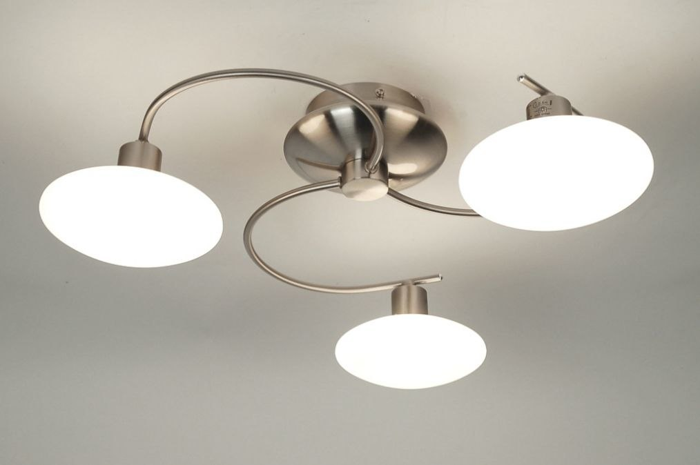 Plafondlamp 30339 modern glas wit opaalglas staal rvs - Como hacer lamparas de techo modernas ...
