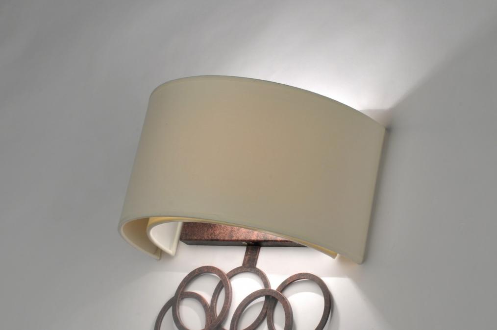 Woonkamer Wandlamp : Wandlamp 30373: Klassiek, Metaal, Stof, Roest