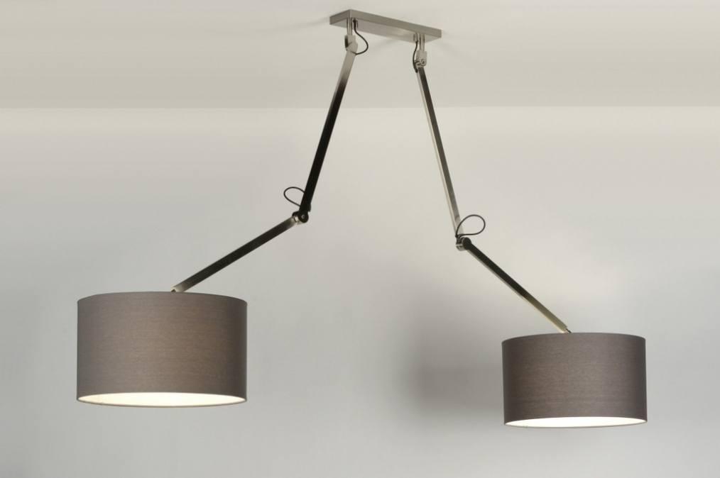 pendelleuchte 30504 modern design grau stoff. Black Bedroom Furniture Sets. Home Design Ideas