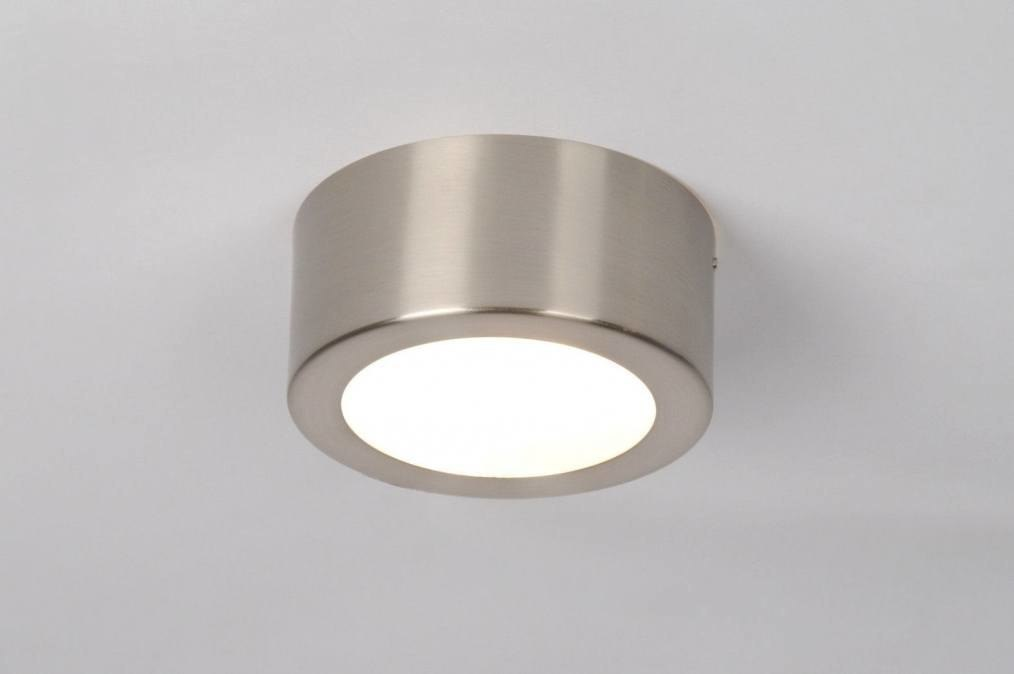Plafondlamp 30513: modern, staal rvs, rond