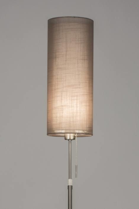 Vloerlamp 30617 modern staal rvs stof - Grijze ruimte en taupe ...