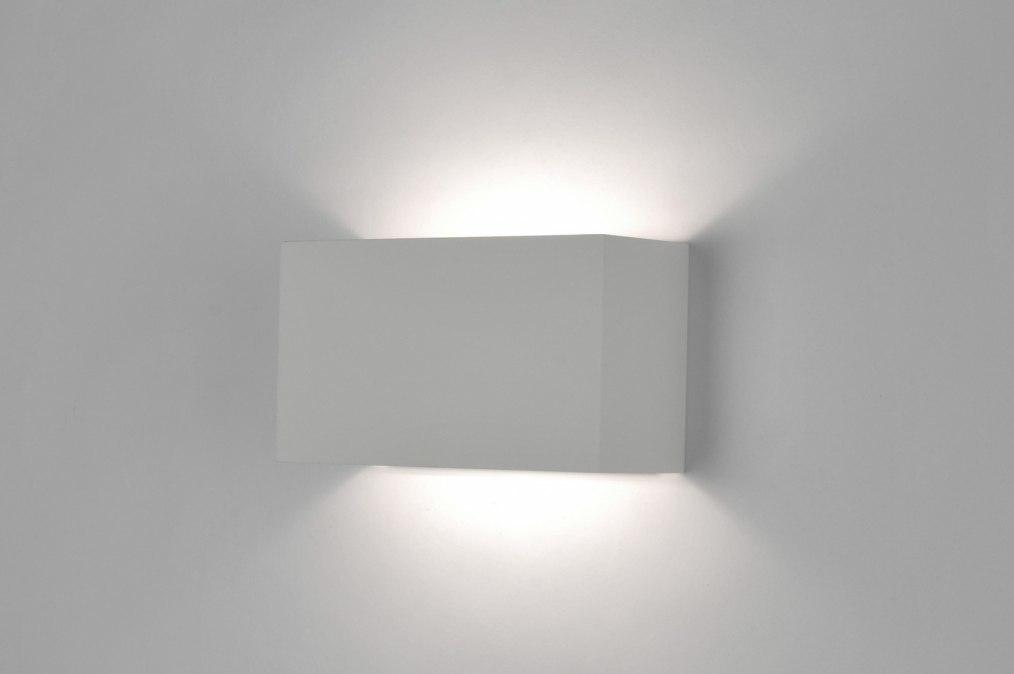Wandlamp 30622: modern, wit, mat, aluminium