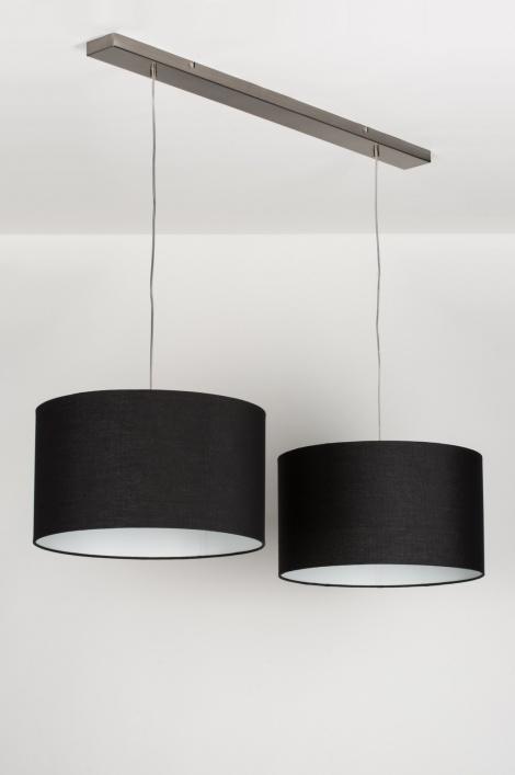 pendelleuchte 30630 modern schwarz stoff rund. Black Bedroom Furniture Sets. Home Design Ideas