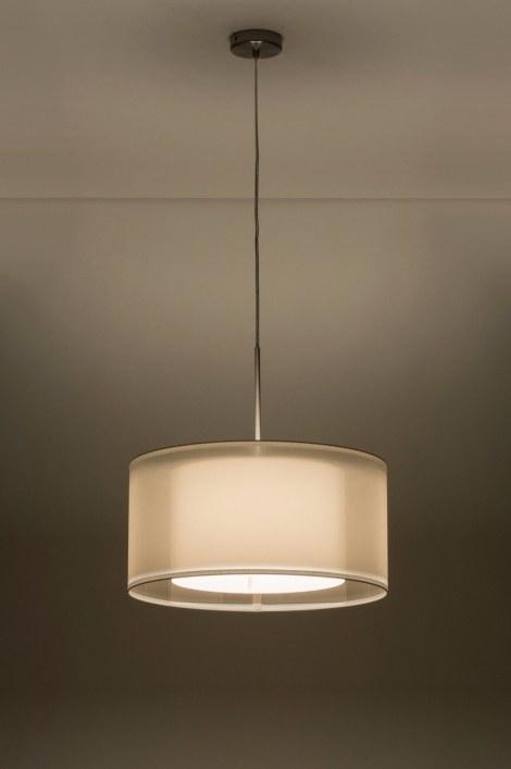 pendelleuchte 30653 modern weiss stoff rund. Black Bedroom Furniture Sets. Home Design Ideas