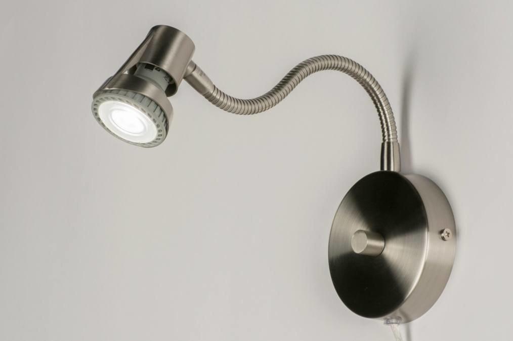 Douche Schuifdeur Rollers ~ Wandlamp 55814 modern, staal rvs, rond