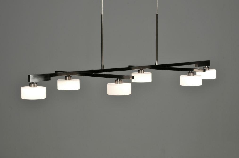 hanglamp 62815: modern, design, glas, wit opaalglas