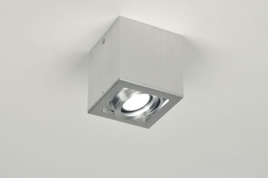 Opbouwspots Keuken : Spot 67470: Modern, Aluminium, Vierkant