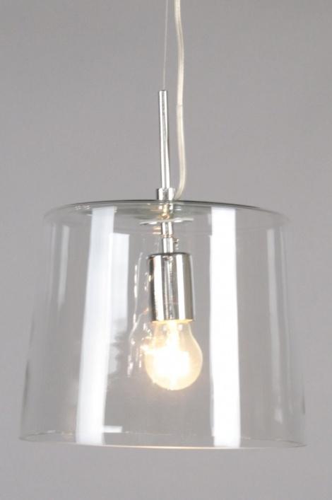 Hanglamp 70129: Modern, Glas, Helder Glas, Rond
