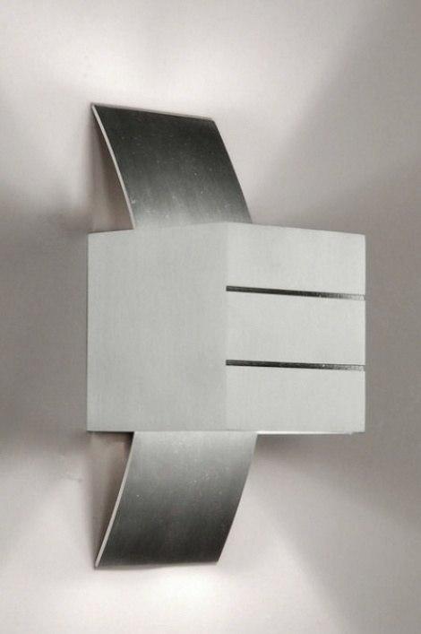wandlamp 70181: modern, design, geschuurd aluminium, rechthoekig
