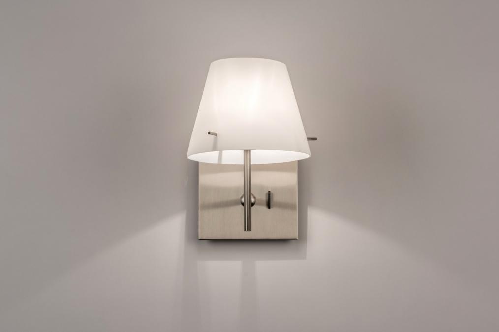 hoogte wandlamp slaapkamer : Wandlamp 70460 Modern, Glas, Wit ...