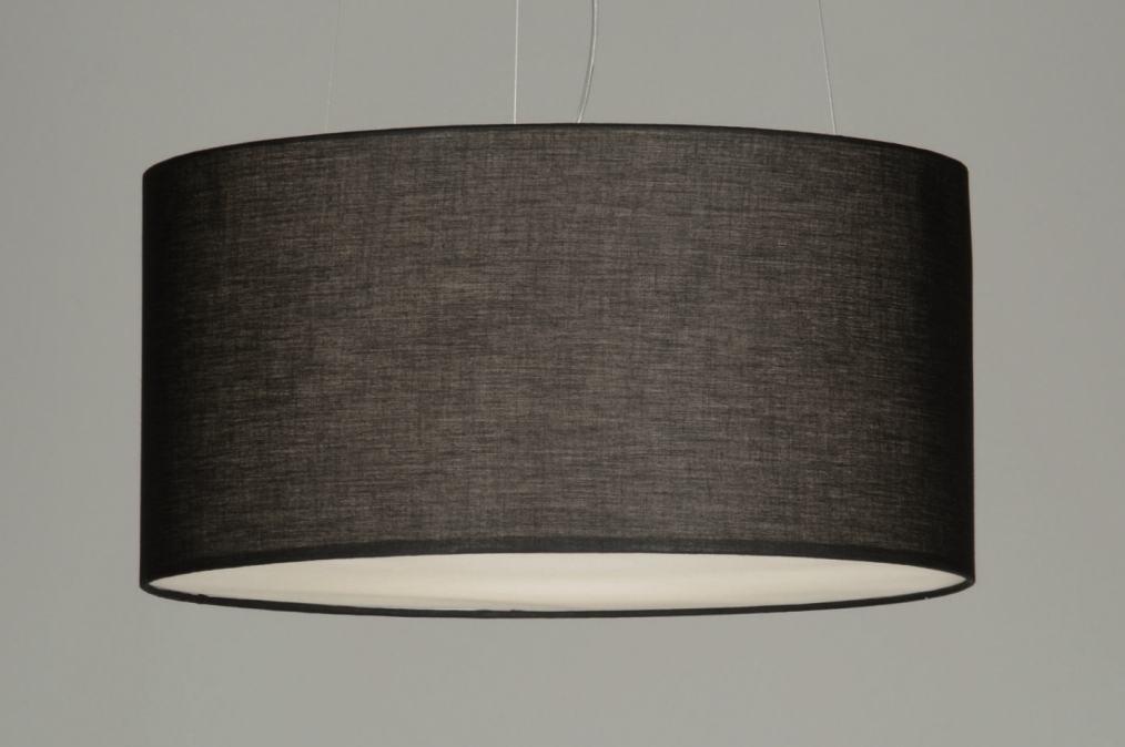 pendelleuchte 70592 modern schwarz stoff rund. Black Bedroom Furniture Sets. Home Design Ideas