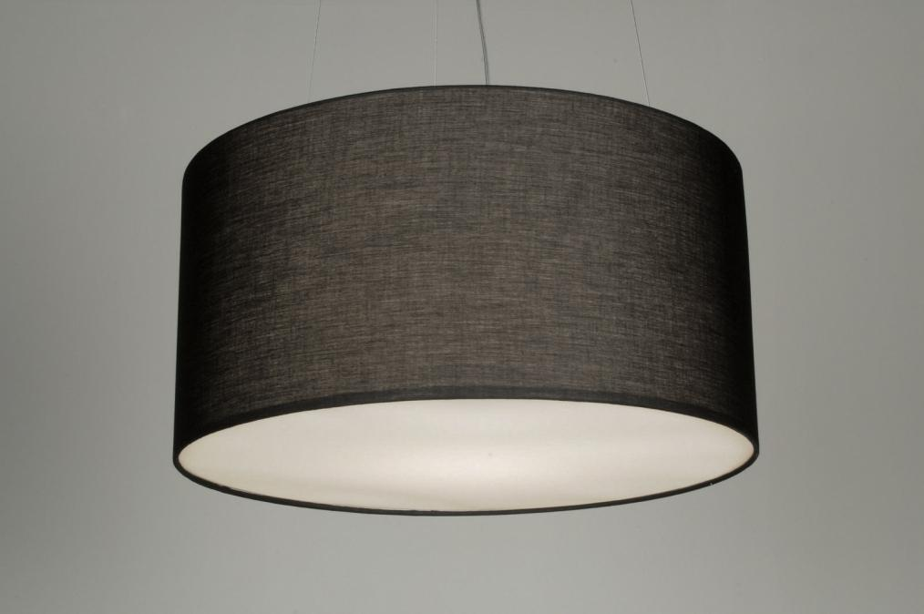 Suspension 70592 moderne acier poli etoffe noir rond for Suspension moderne noir