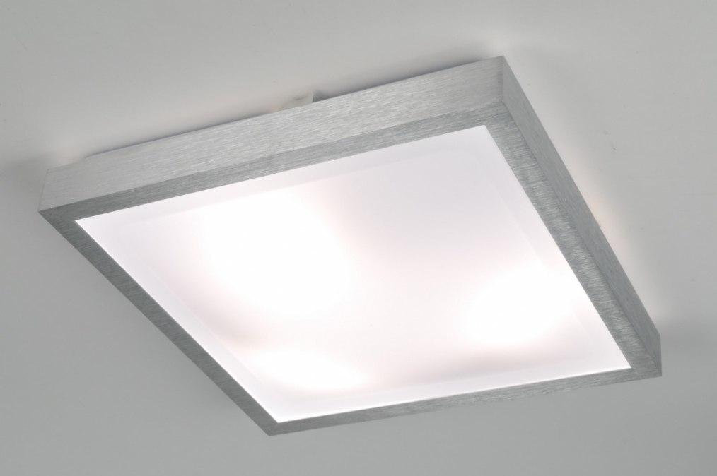 Plafondlamp 70673: modern, aluminium, wit, aluminium
