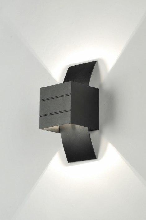 Wandlamp 70975: modern, design, aluminium, zwart