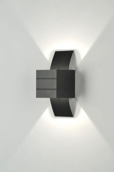 applique murale 70975 moderne design aluminium noir. Black Bedroom Furniture Sets. Home Design Ideas