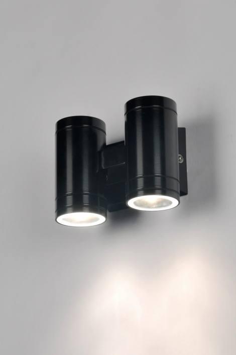 Wandlamp 71168: modern, design, aluminium, zwart