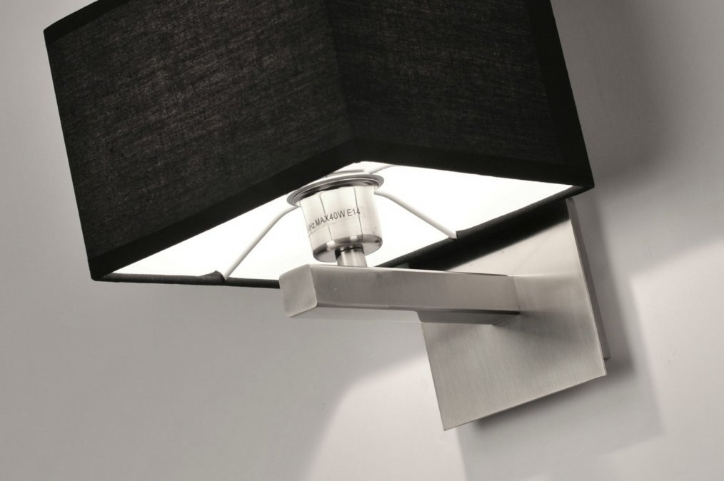 applique murale 71218 moderne acier poli etoffe noir. Black Bedroom Furniture Sets. Home Design Ideas