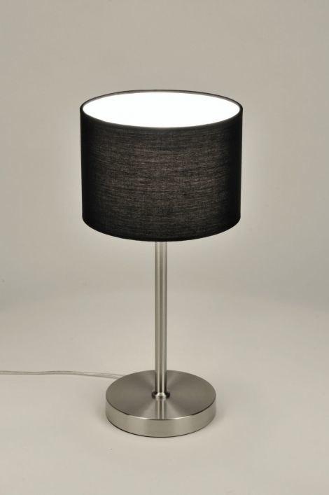 tischleuchte 71230 modern stahl rostbestaendig stoff schwarz rund. Black Bedroom Furniture Sets. Home Design Ideas