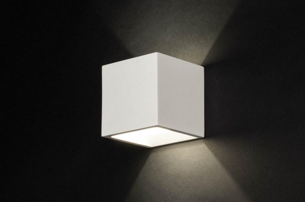wandleuchte 71350 modern keramik weiss matt viereckig. Black Bedroom Furniture Sets. Home Design Ideas