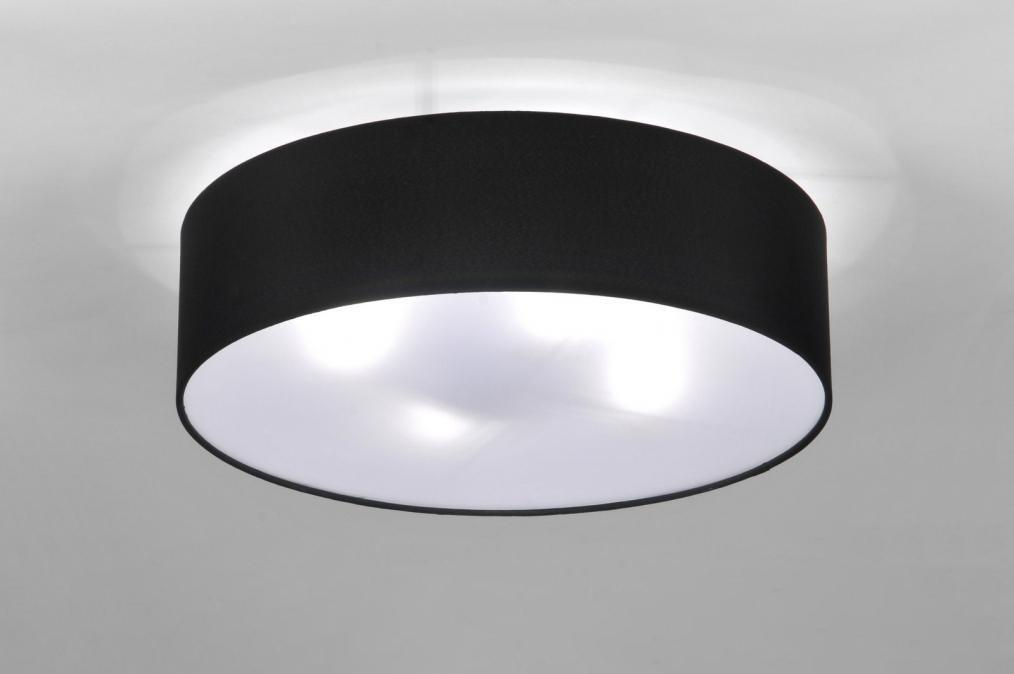 deckenleuchte 71388 modern schwarz stoff rund. Black Bedroom Furniture Sets. Home Design Ideas