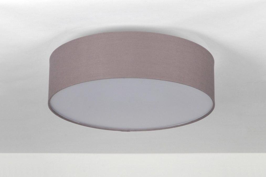 deckenleuchte 71389 modern grau stoff rund. Black Bedroom Furniture Sets. Home Design Ideas