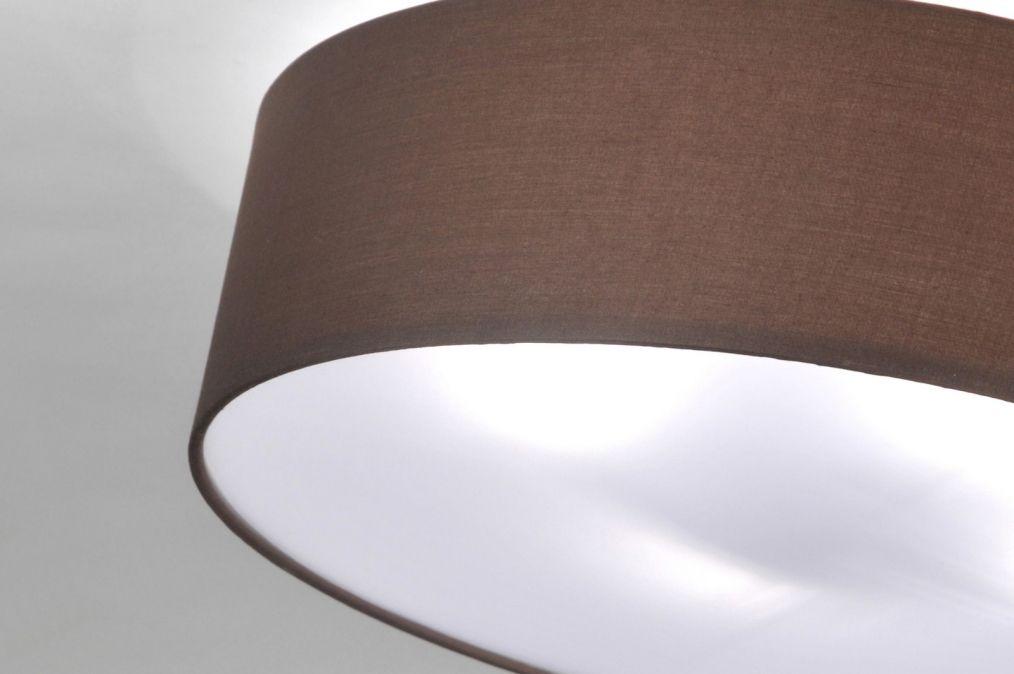 Deckenleuchte 71390 modern metall stoff braun for Deckenleuchte rund stoff