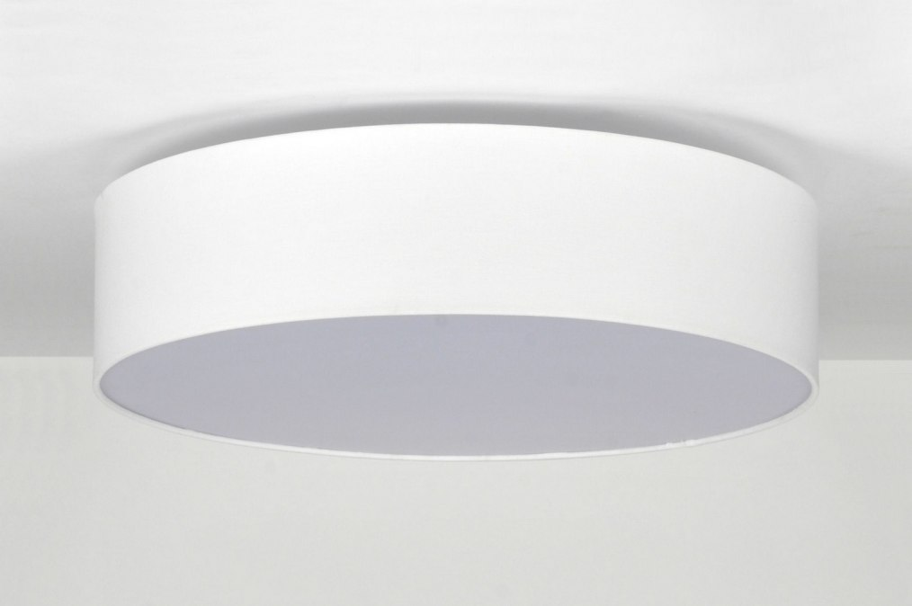 Deckenleuchte 71391: Modern, Weiss, Stoff, Rund