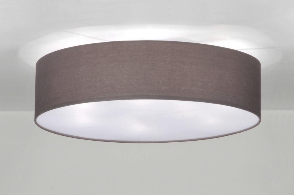 Keuken Plafondlamp : Plafondlamp 71392: Modern, Grijs, Stof, Rond