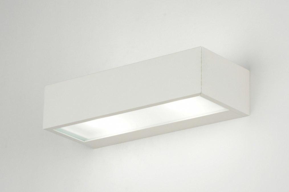 Wandlamp 71401: modern, wit, mat, aluminium