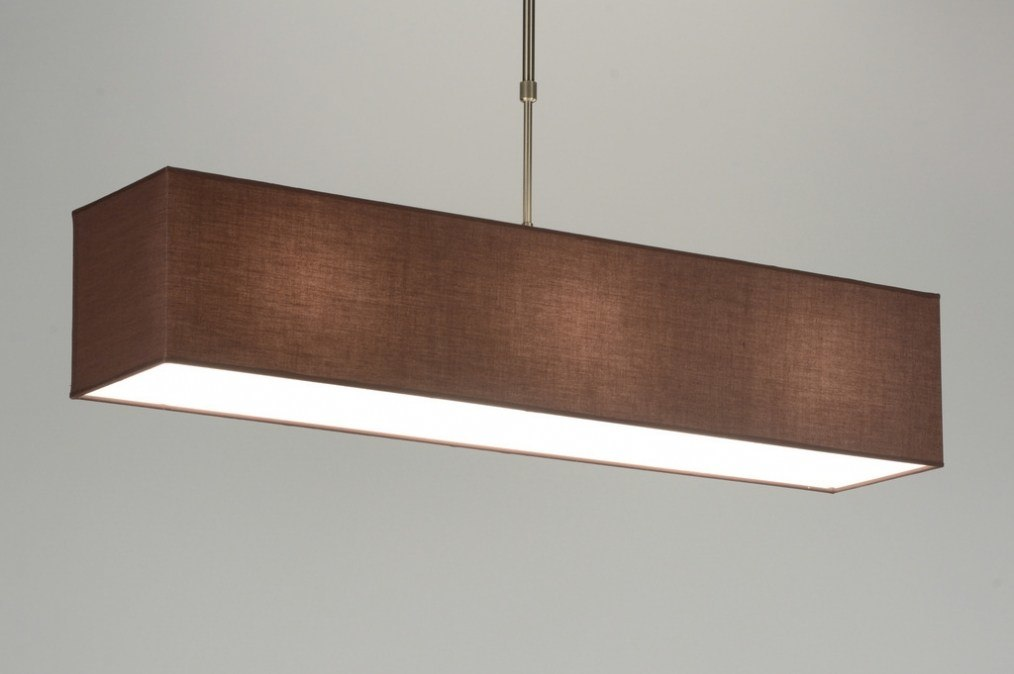 hanglamp 71463: modern, bruin, stof, rechthoekig
