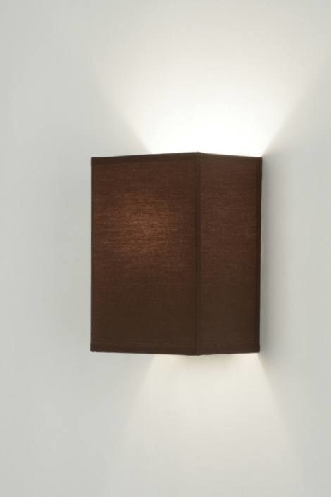 wandleuchte 71466 modern stahl rostbestaendig stoff braun. Black Bedroom Furniture Sets. Home Design Ideas