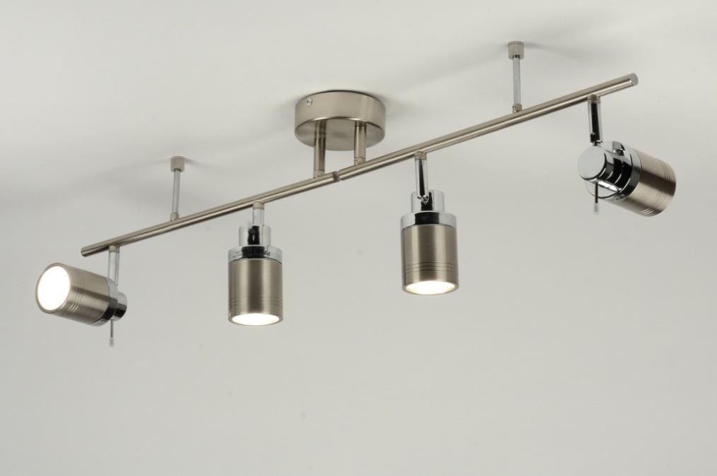 Plafondlamp 71488 modern staalgrijs aluminium glas - Badkamer kantelen ...
